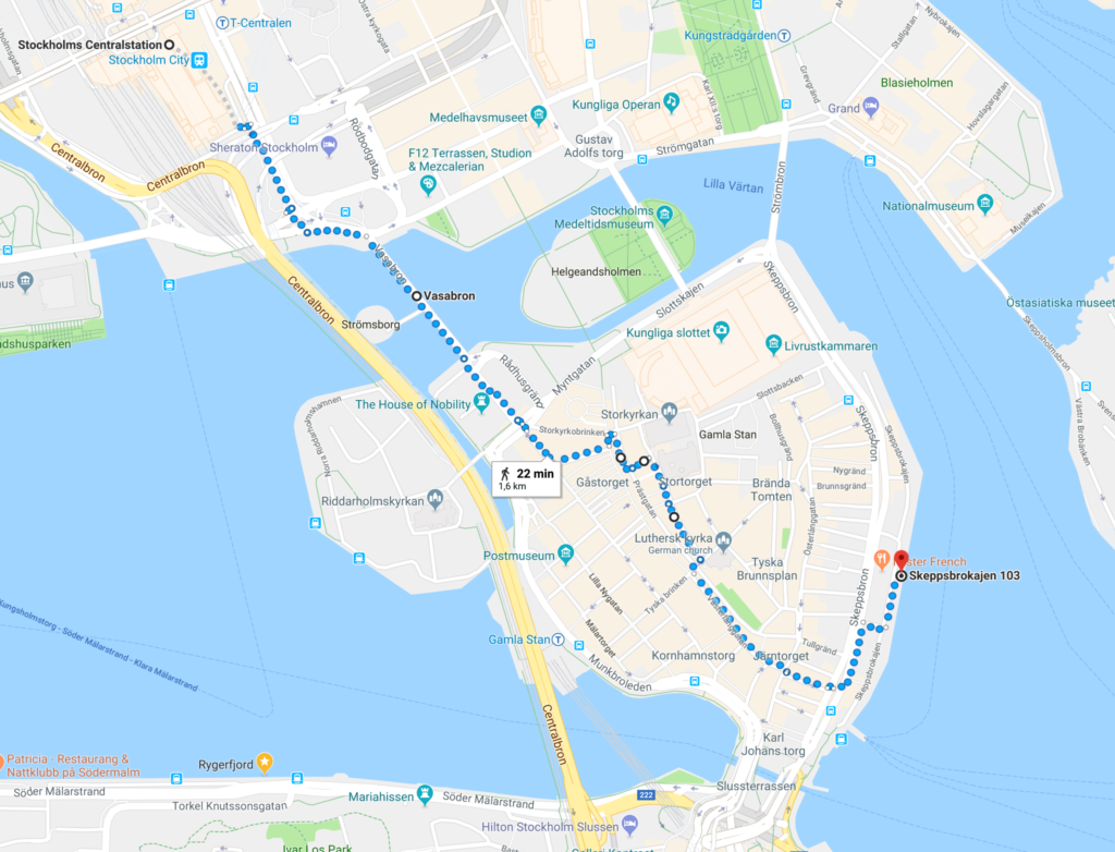 how to find to boat from train station Stockholm city
